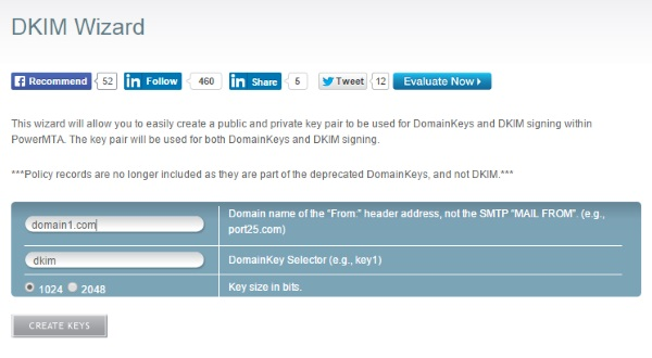 port25.com DKIM Wizard